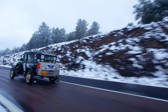 On the snowy roads