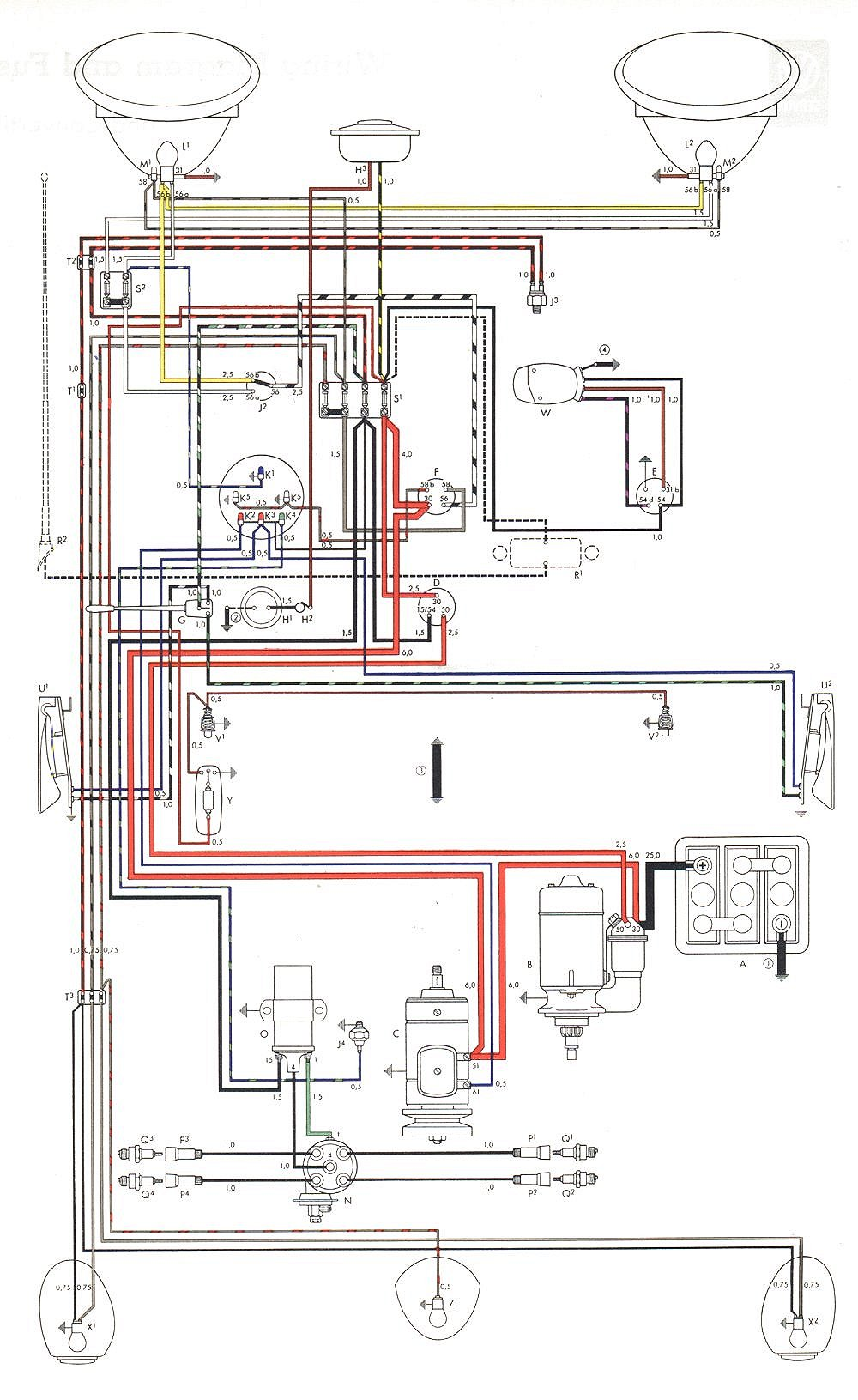 1970 vw bug wiring schematic