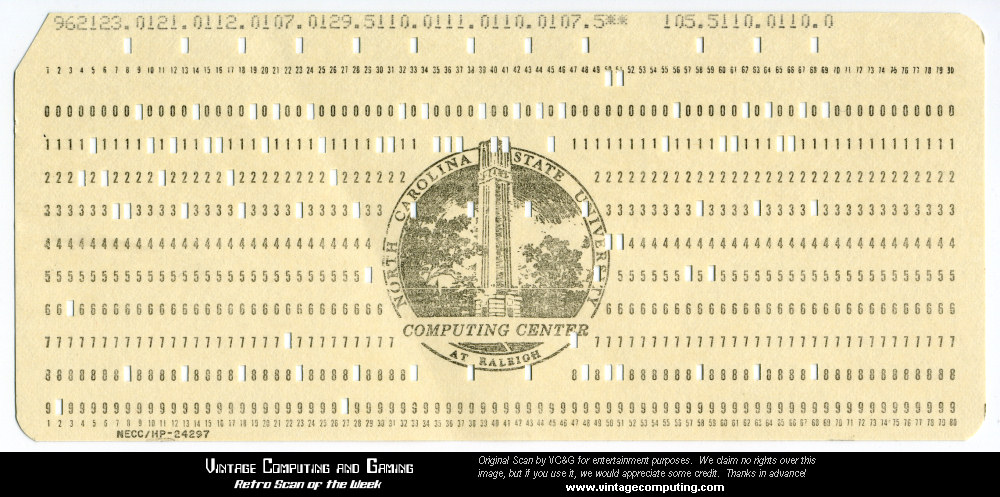 VCG »  Retro Scan of the Week  NCSU Computer Punch Card - punch cards