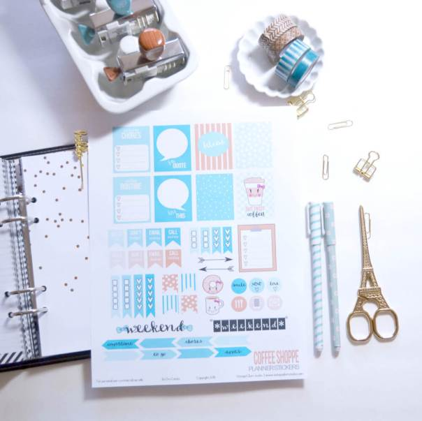 Coffee Shoppe Planner Stickers - Free printable, for personal use only
