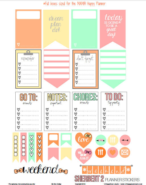 Sherbert 2 Planner Stickers | Free printable for the MAMBI Happy Planner