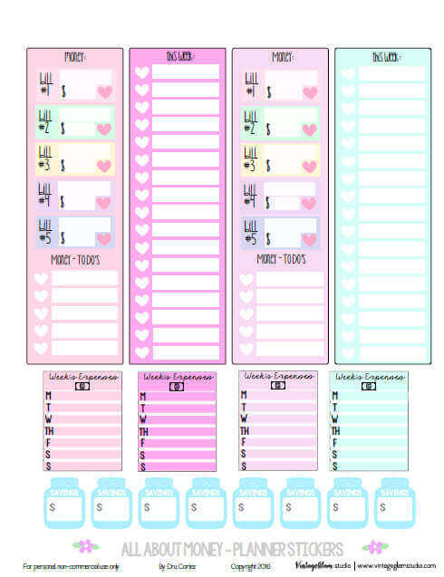 All About Money Planner Stickers | Free printable