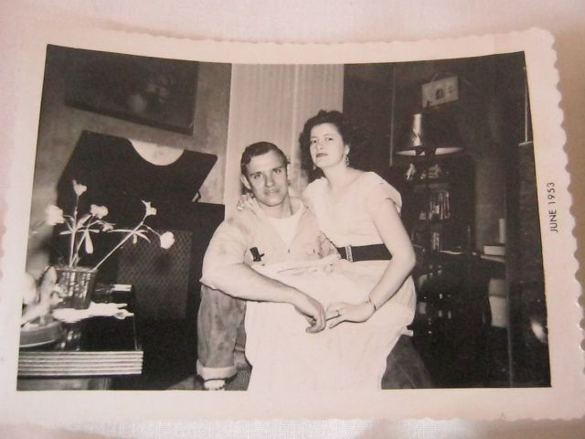 1950s young couple in home vintage image