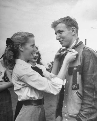 varsity jacket 1946 with young woman