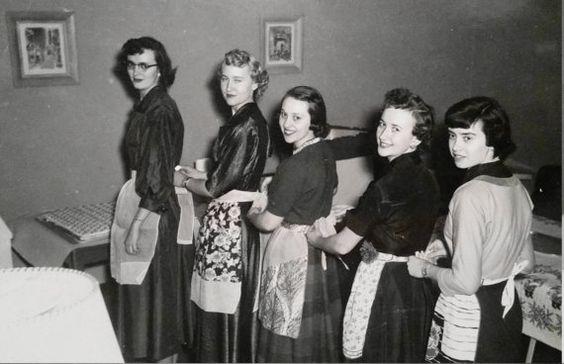 Vintage Photo..The Apron Club..1950's Original Photo, Old Photo Snapshot, Vernacular Found, Americana Everyday Life
