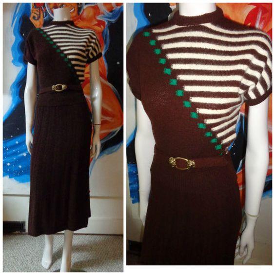 1950's Wool and Angora Striped Sweater Set Top and Pencil Skirt Belt JD College School Girl 40s Medium Rockabilly VlV