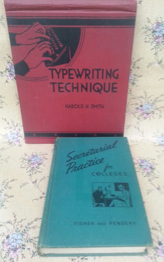 Vintage 1940s Secretary School Books Set Of Two 1942 Typewriting Technique And 1943 Secretarial Practice For Colleges Mad Men Office