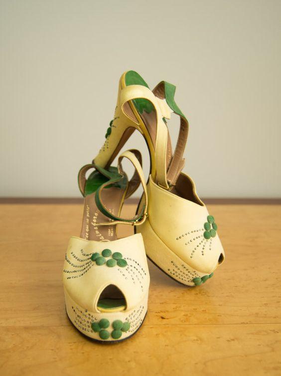 intage 1940s shoes / 40s designer platform