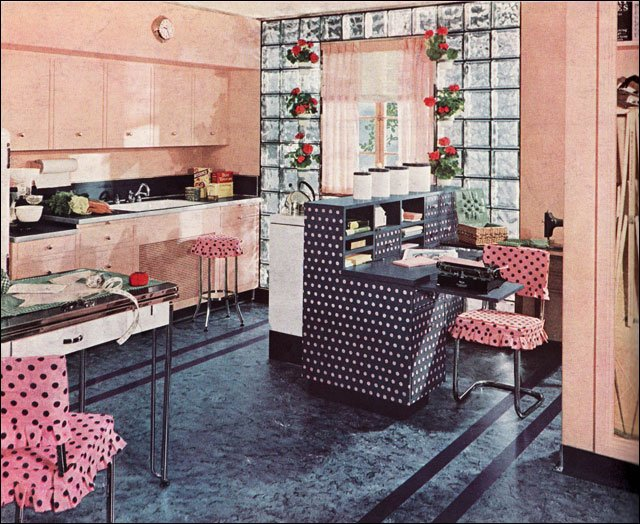 1940s vintage kitchen design with linoleum and pink polka dots