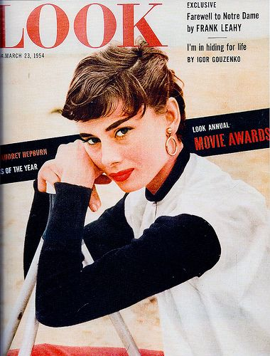 Audrey Hepburn 1950s vintage look magazine