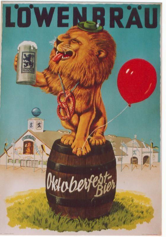 vintage poster LOWENBRAU OKTOBERFEST-BEER