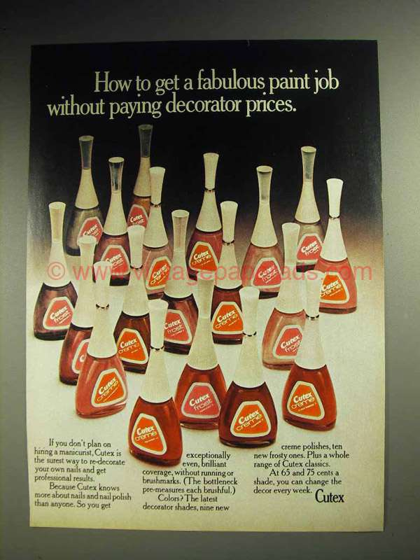 1972 Cutex Nail Polish Ad Get A Fabulous Paint Job