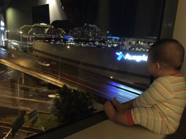 Oli looking at the harbour