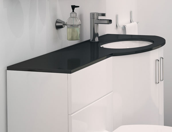 Only 98699 Sparkle P Shape Vanity Bathroom Suite With