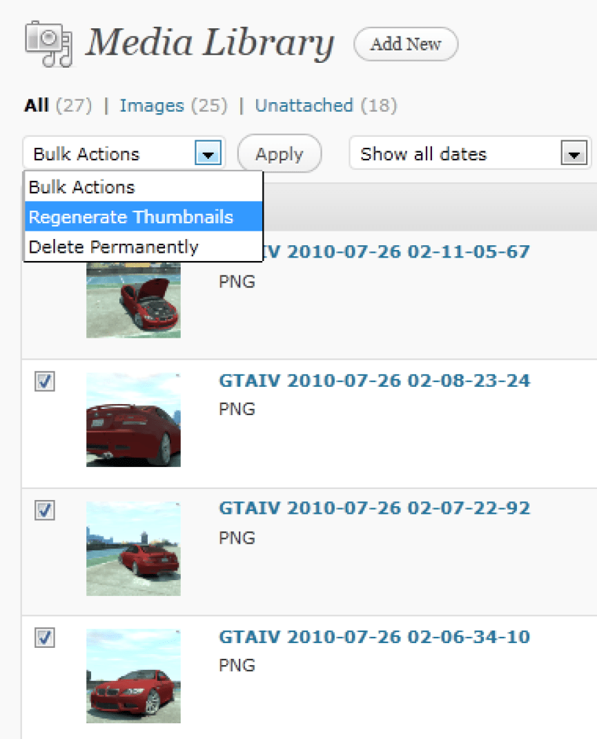 "You can resize specific multiples images using the checkboxes and the ""Bulk Actions"" dropdown (WordPress 3.1+ only)"