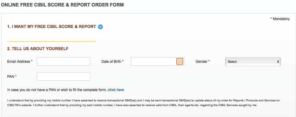 Fill form for free CIBIL score or report