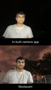 NoctaCam app for night photography vs iPhone camera app