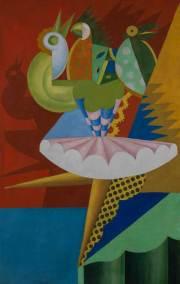 Fortunato-Depero_Rotazione-di-ballerina-e-pappagalli_-1917_olio-su-tela-