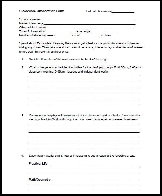 Teacher Checklist Template Observation | Dvr Sample Resume
