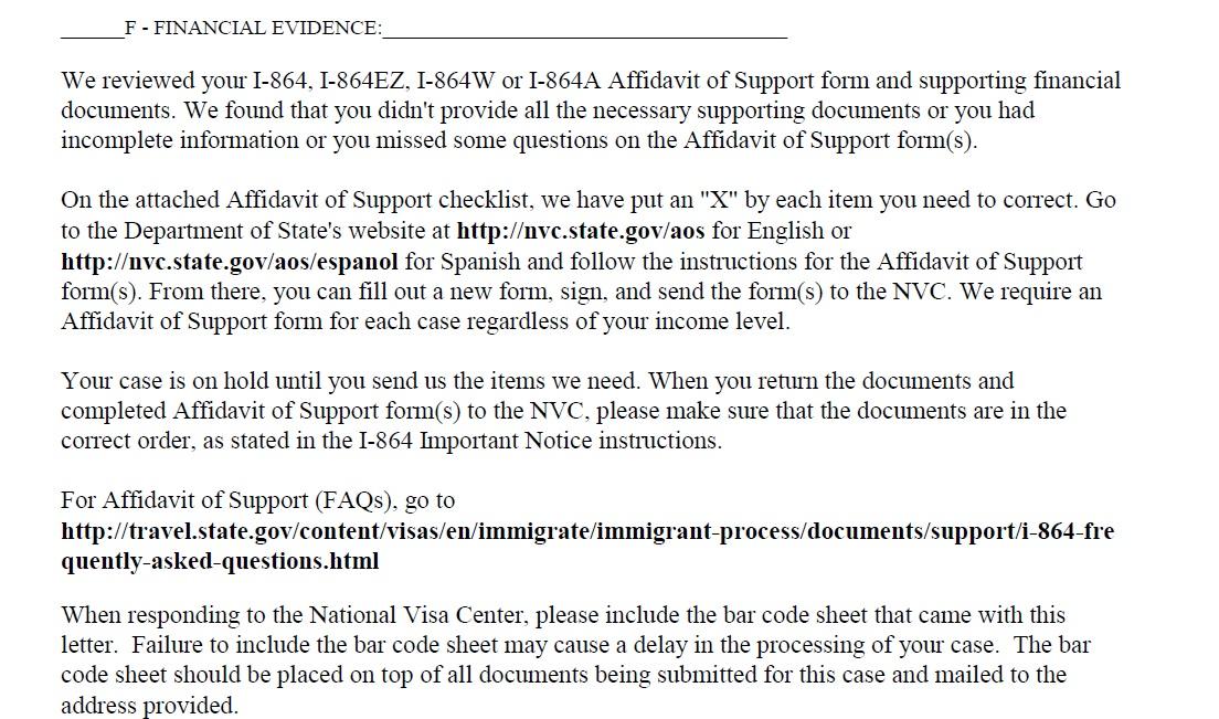 Form I--864 Affidavit of Support Missing /incorrect information - IR - affidavit of support