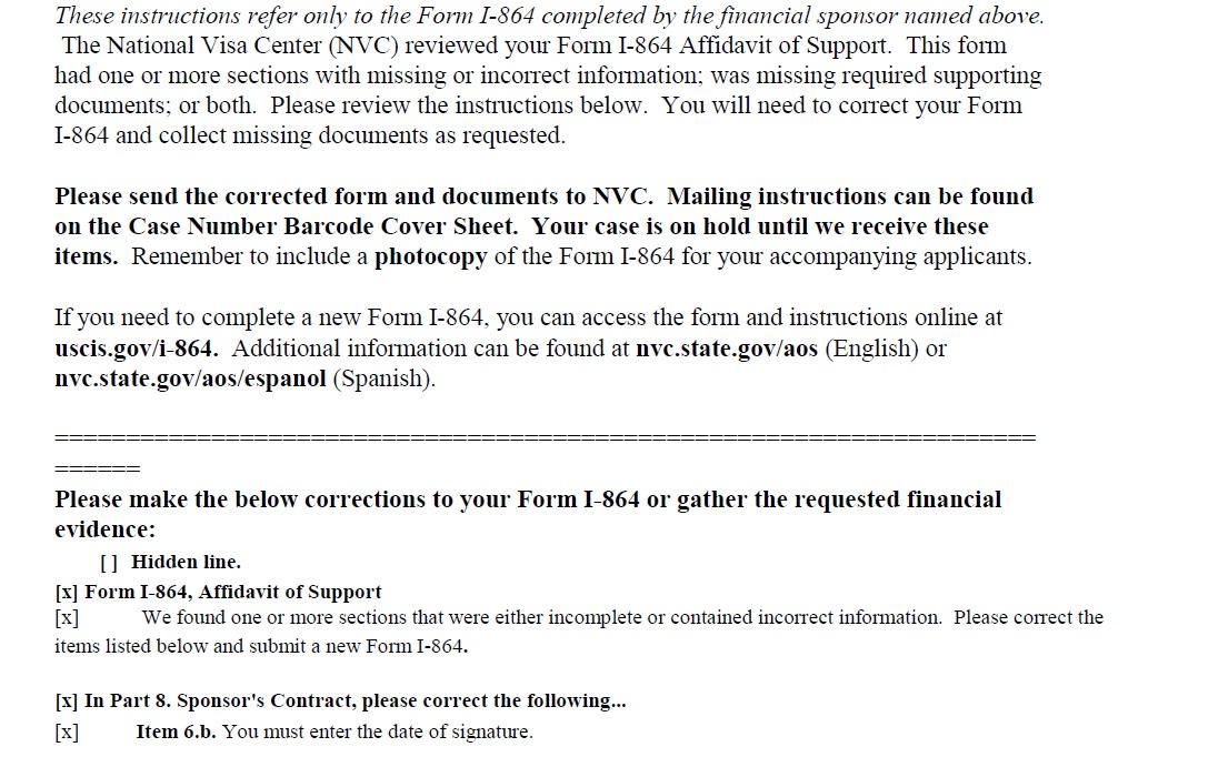 Form I--864 Affidavit of Support Missing \/incorrect information - affidavit of support
