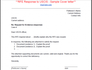 Amazing Cover Letters Cover Letter And Job Application I 129f Request For Evidence Rfe 171; Visa Tutor