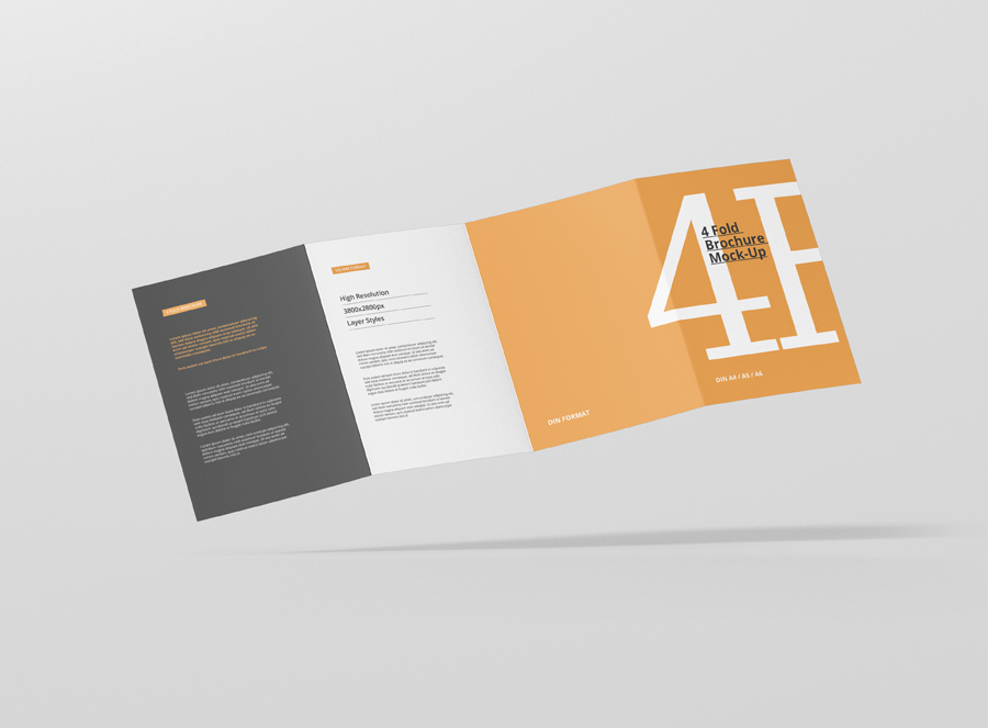 4 Fold Brochure Mockup Din A4 A5 A6 - Premium and Free Mockups