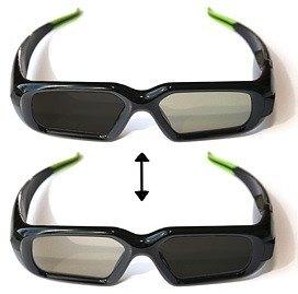 Des lunettes 3D actives : les lunettes envoient du courant électrique dans un verre à la fois, ce qui l'obscurci. Image : Cinenow.