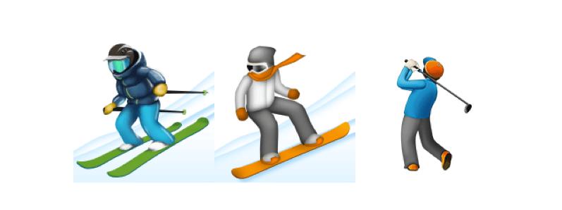 Agrandissement du skieur, du surfeur et du golfeur dans un traitement de texte (sur Mac, OS X 10.11.2).