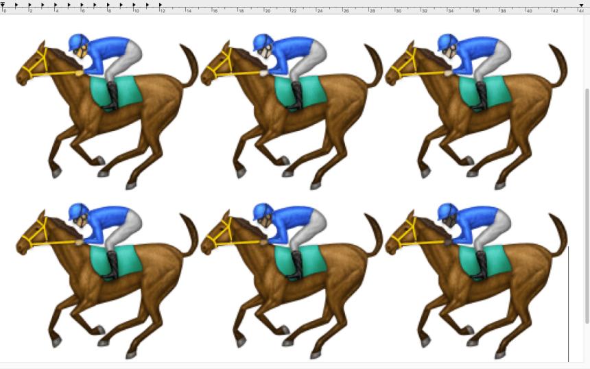 Le cavalier sur Mac, caractères taille 400. OS X 10.11.2.