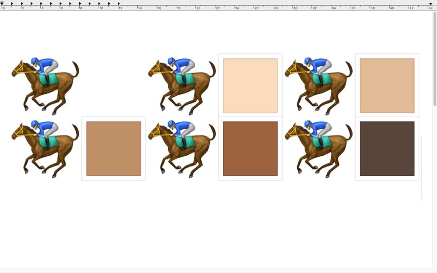 Les emojis des six cavaliers multi-ethniques vus par un système qui ne les intègre pas.