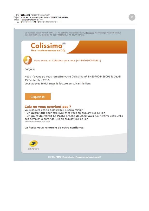 Ça ressemble a un vrai courriel Colissimo.