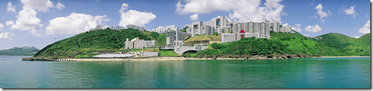 HKUST from the sea - panorama