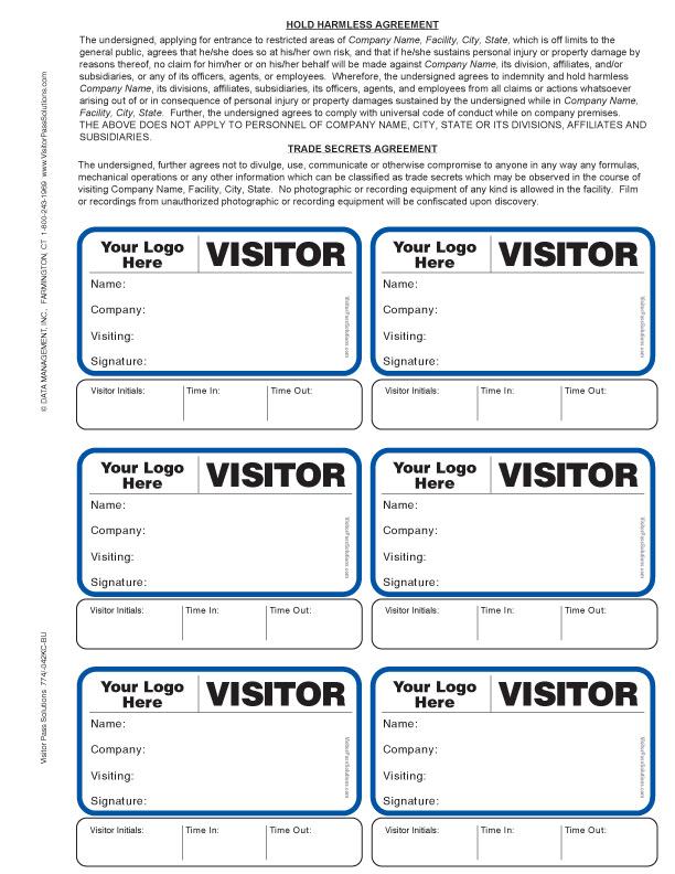 Visitor Agreement Badges \u003cbr\u003ewith Sign-Out option