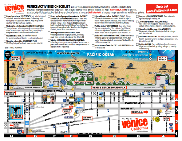 Venice, California Activities Check List and Map