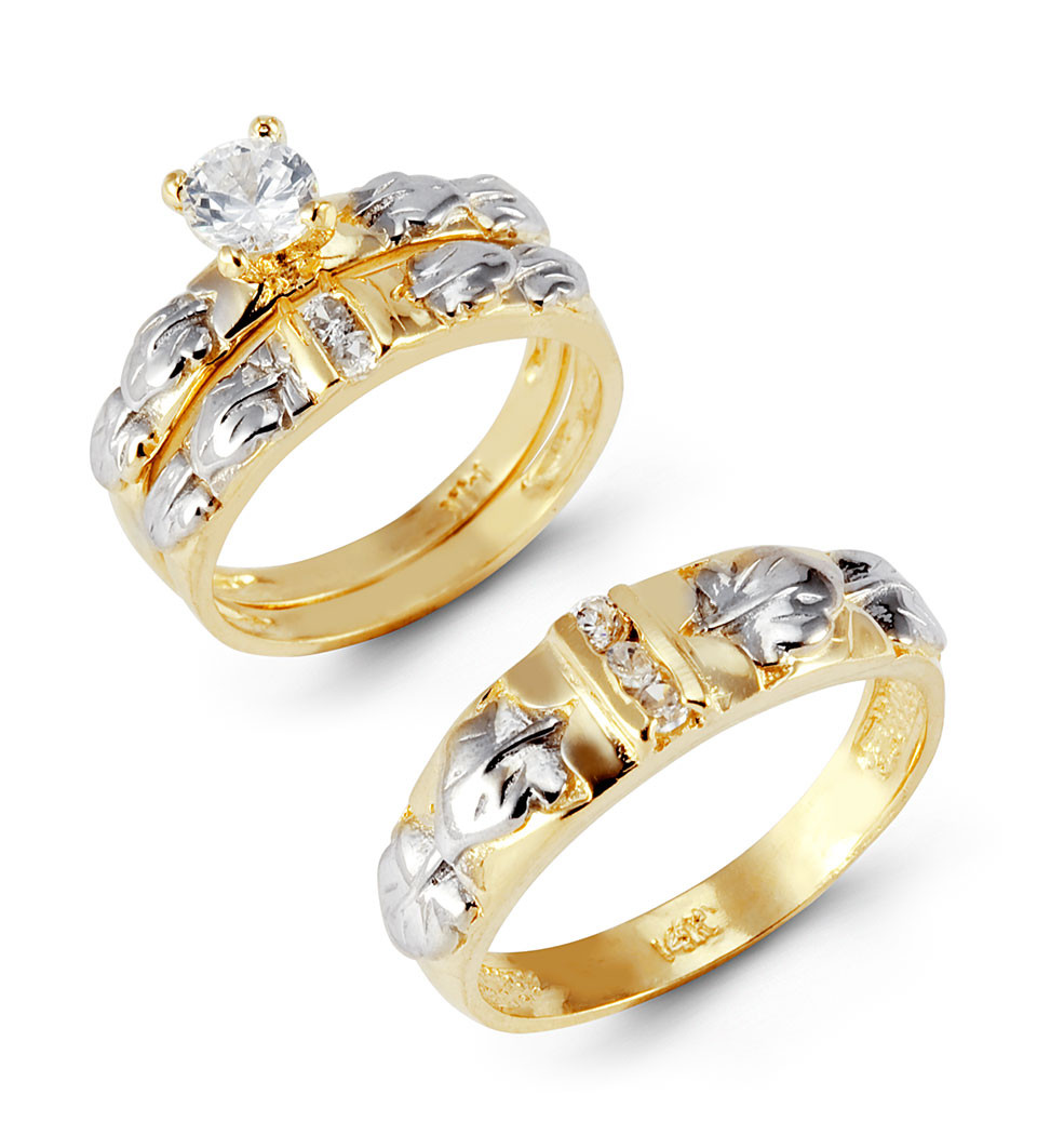 14k yellow white gold leaves round cz wedding ring set yellow gold wedding rings Accent your life with beautiful white and yellow gold wedding rings