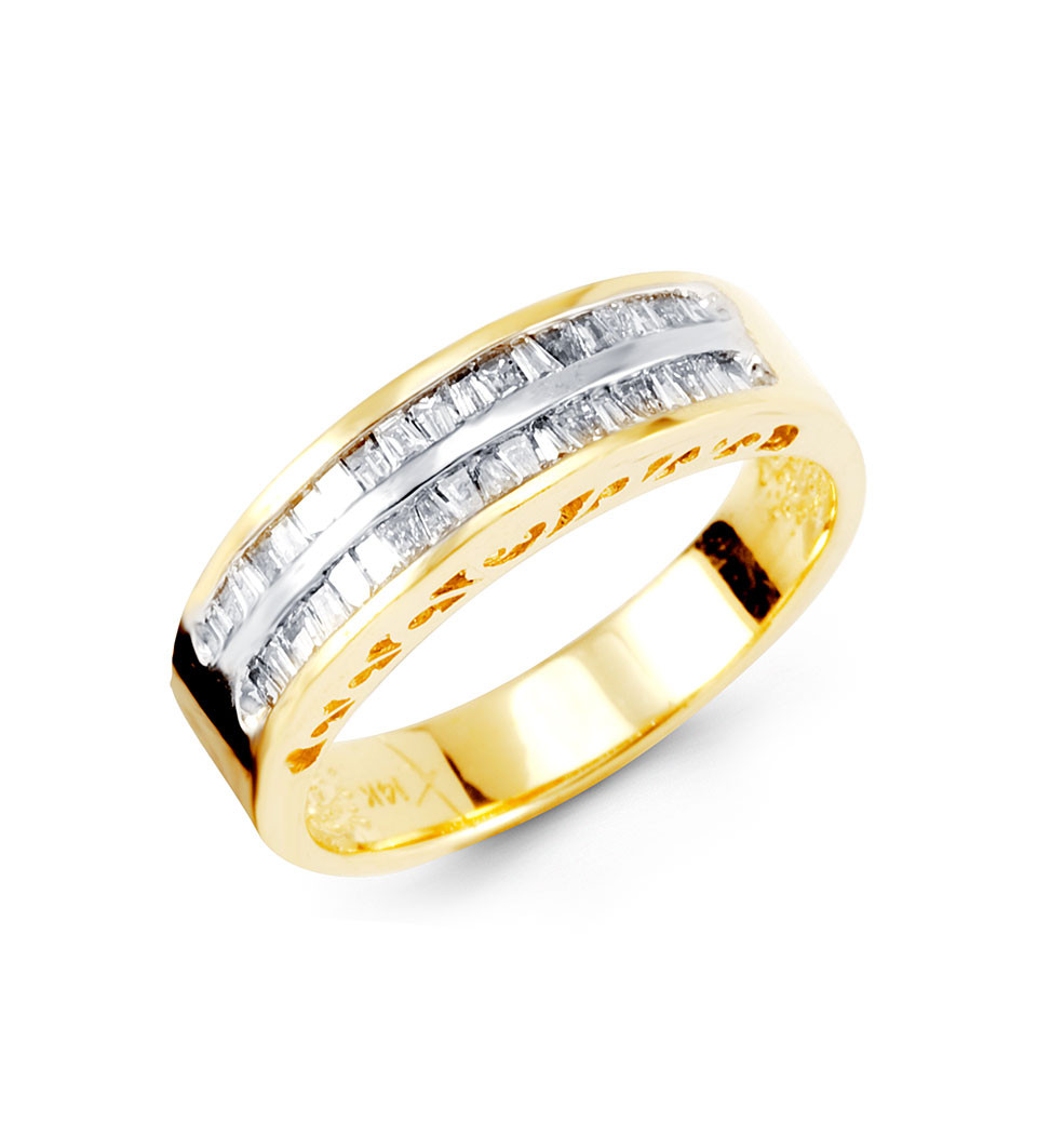14k yellow gold ct baguette diamond wedding band wedding bands gold Put on this gorgeous diamond ring