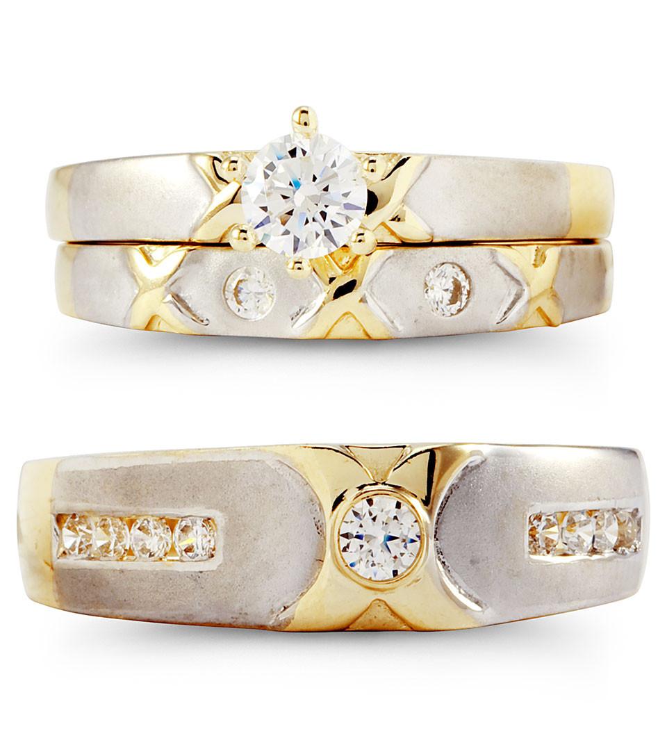 14k solid white yellow gold xo cz wedding rings trio trio wedding rings Express