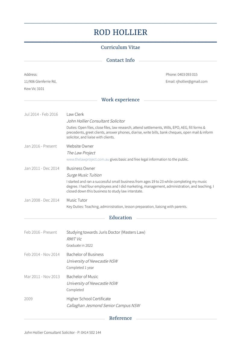 law clerk resume sample