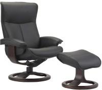 Fjords Senator Ergonomic Leather Recliner Chair + Ottoman ...