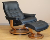 Stressless Royal Recliner Chair Paloma Black Leather by ...