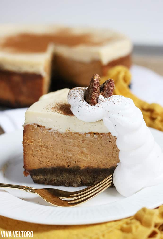 Maple Pumpkin Cheesecake with Gingersnap Crust Recipe!
