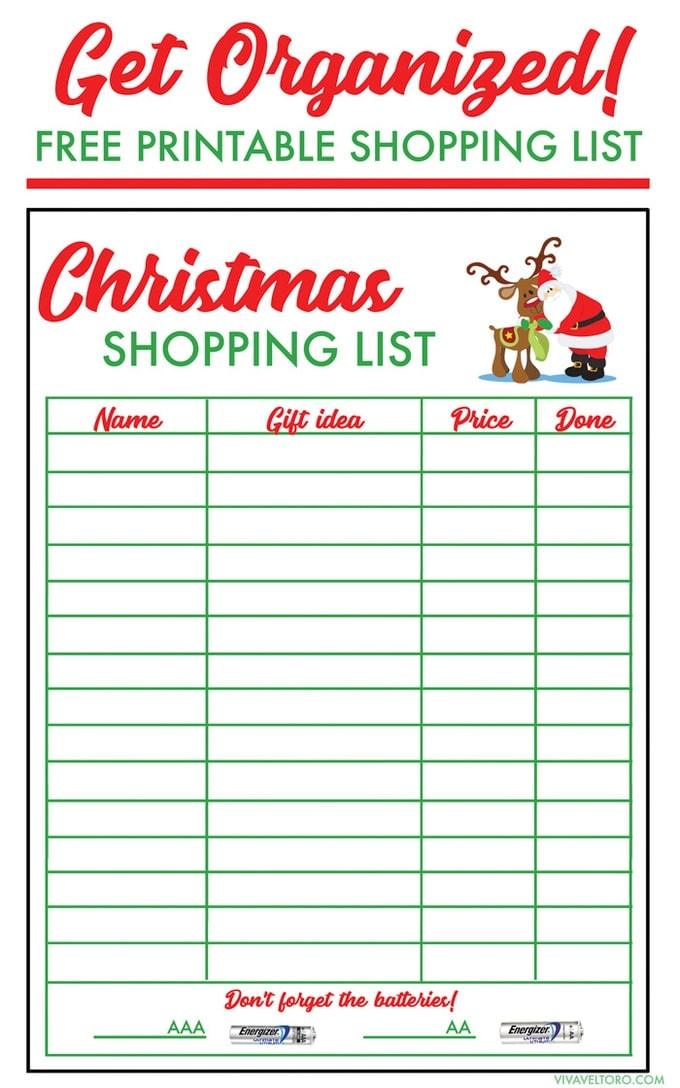 FREE Christmas Shopping List Template - Viva Veltoro