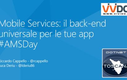 #AMSDay La community @dotnettoscana e gli Azure Mobile Services