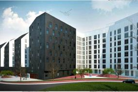 Recreación de los bloques que acogerán apartamentos para jóvenes en el barrio bilbaíno de Amezola.