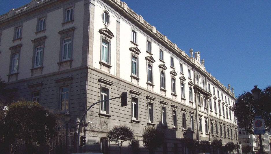 South facade of the Spanish Supreme Court's seat, in Centro district in Madrid. Building from 1758.
