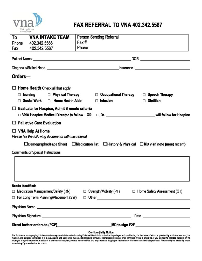 VNA Intake Fax Referral Form Web 2017 - VNA