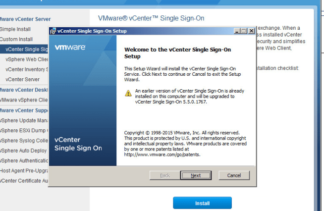 vcenter upgrade step 1