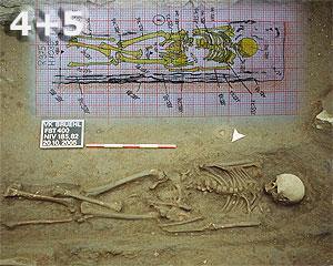 Fundstelle 400; aus dem Bereich zwischen Mittelalter- und Barockchor. Eines der am tiefsten liegenden Skelette in diesem Areal. Im Vordergrund sind Spuren des Holzsarges erhalten. Oben zu sehen die Umzeichnung (Im Original: detailgetreu im Maßstab 1:20, Zeichnung C, Schiene) von FST 400 mit HOlzresten.