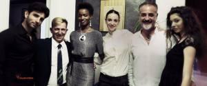 La ballerina Anbeta Tiromano (al centro) insieme al primo ballerino Alessandro Macario, il Maestro Antonio Colandrea, Rosalie Ndew Ndour, Nicola Papaurusso e la modella Gaia Di Napoli
